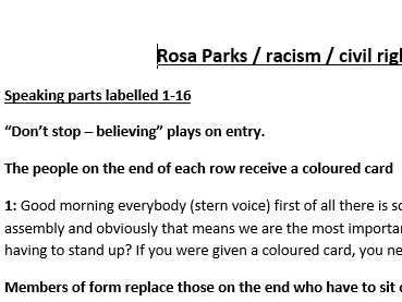 Rosa Parks / segregation assesmbly script. For student delivery
