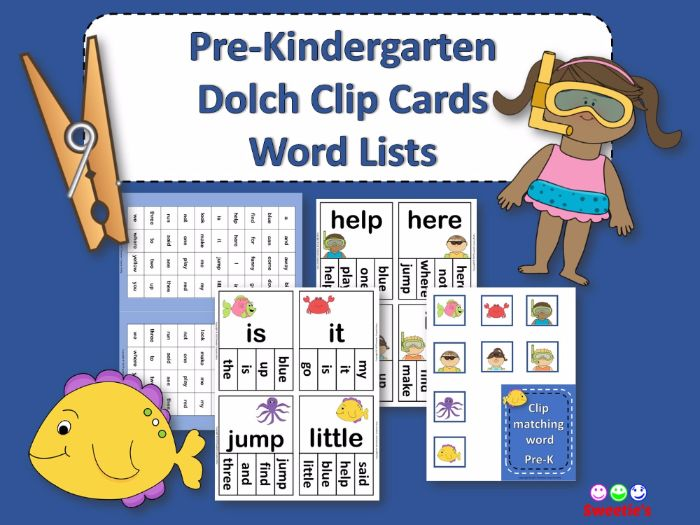 Dolch Sight Words Pre Kindergarten Clip / Clothespin Cards - Ocean Theme