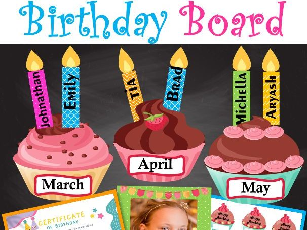 Birthday Cupcake Bulletin Board   Birthday Certificate& Frame   Birthday Display