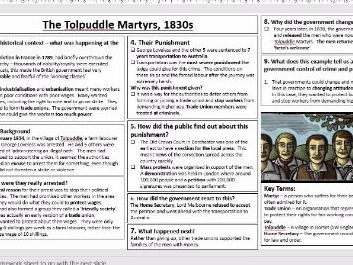 Lesson 18 GCSE History Edexcel 1-9 Crime and Punishment1700-1900 : The Tolpuddle Martyrs
