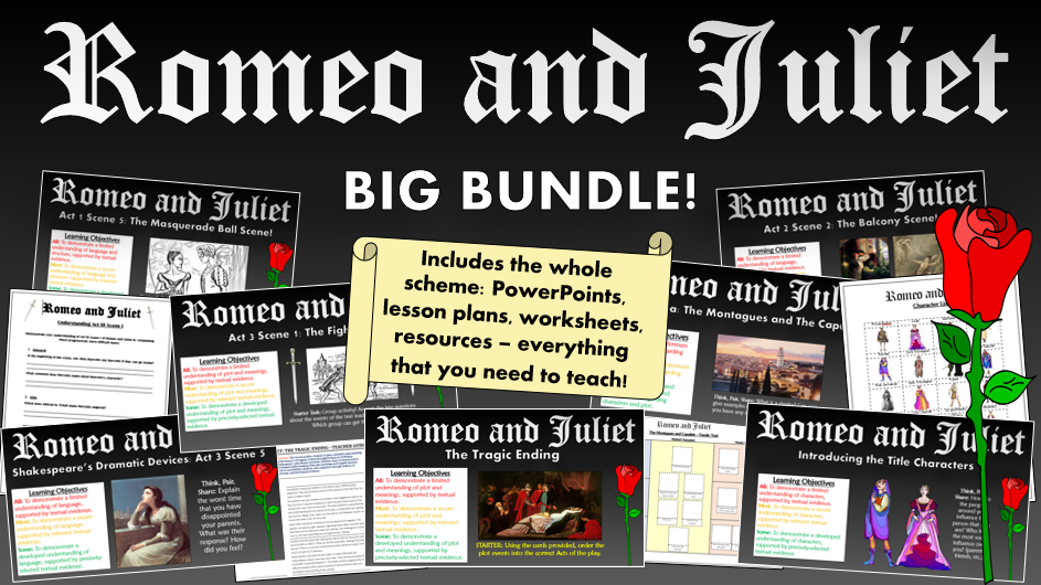 Romeo and Juliet: Big Bundle! (All lessons, worksheets, plans, everything!)