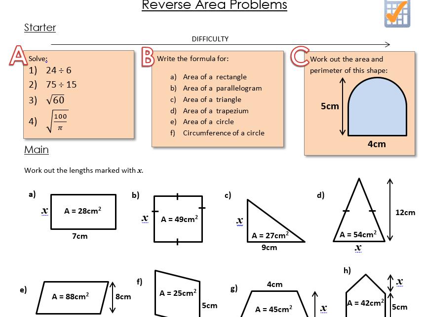 Reverse Area Worksheet