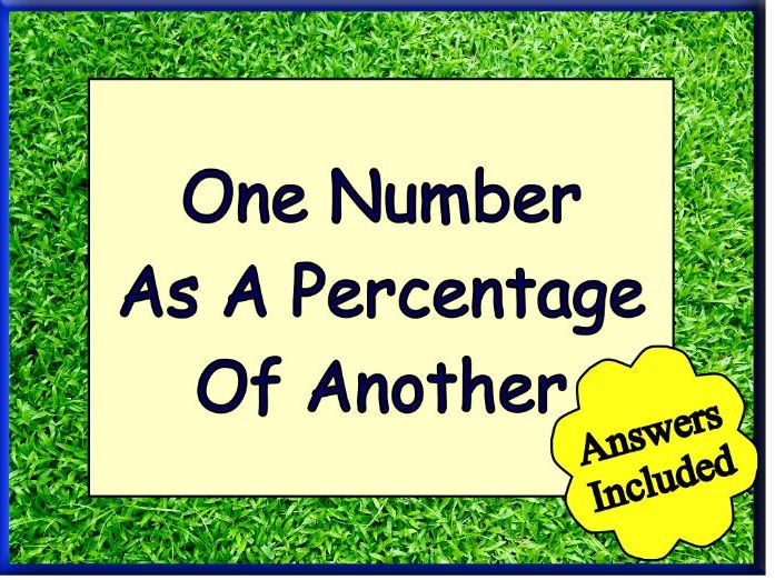 Expressing One Number As A Percentage Of Another - With Answers