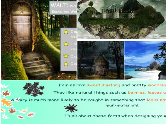 KS1 Year 2 literacy Enchanted Woods topic. IWB Lesson starters and writing activities.