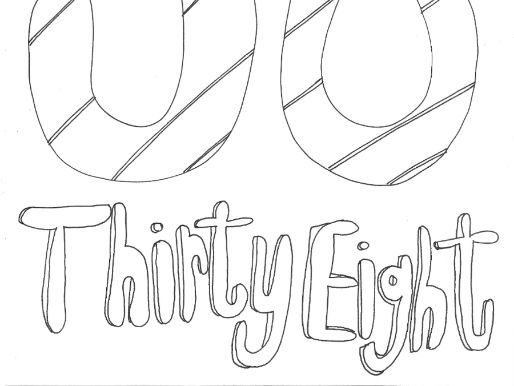 Thirty Eight:  Numbers (with word): Colouring Page