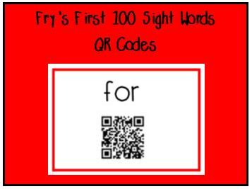 Fry's First 100 Sight Words QR Codes