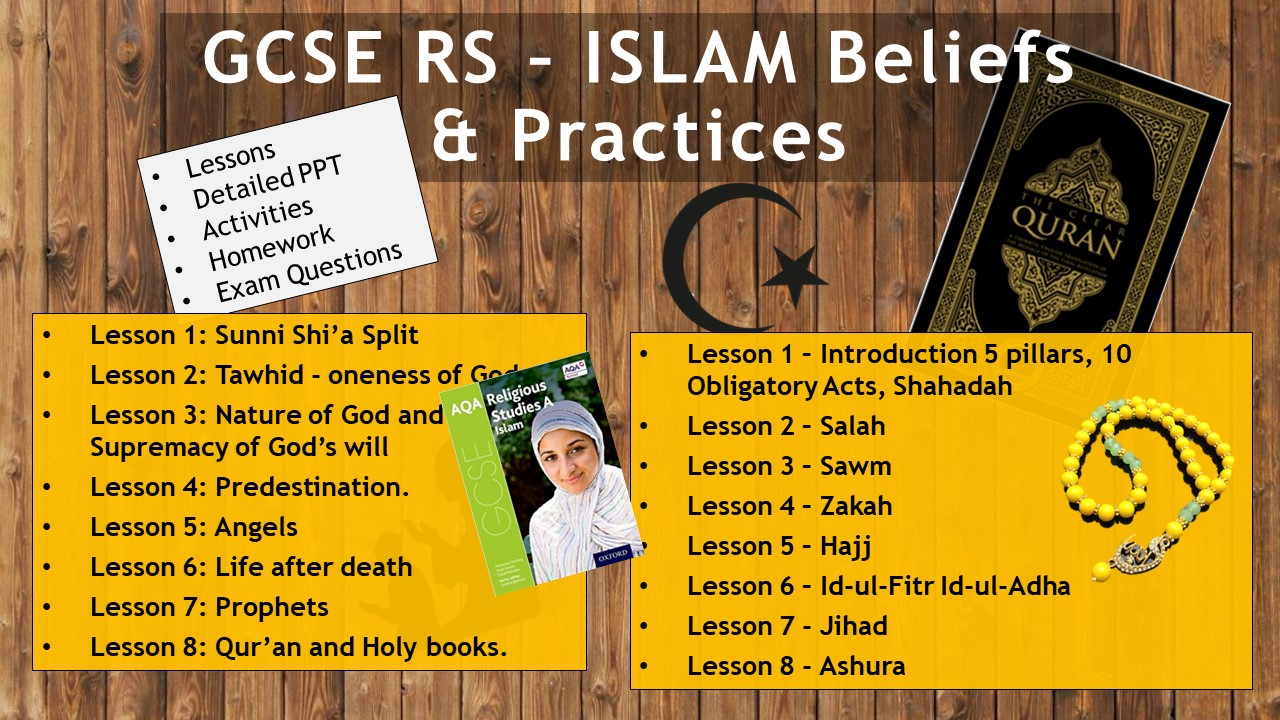 AQA GCSE RE RS - Islam Beliefs and Practices WHOLE UNIT 16 lessons