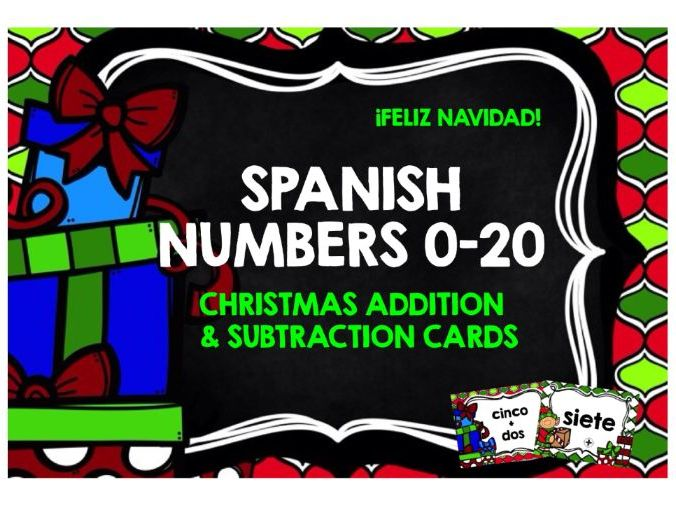 CHRISTMAS: PRIMARY SPANISH CHRISTMAS NUMBERS 0-20 CARDS