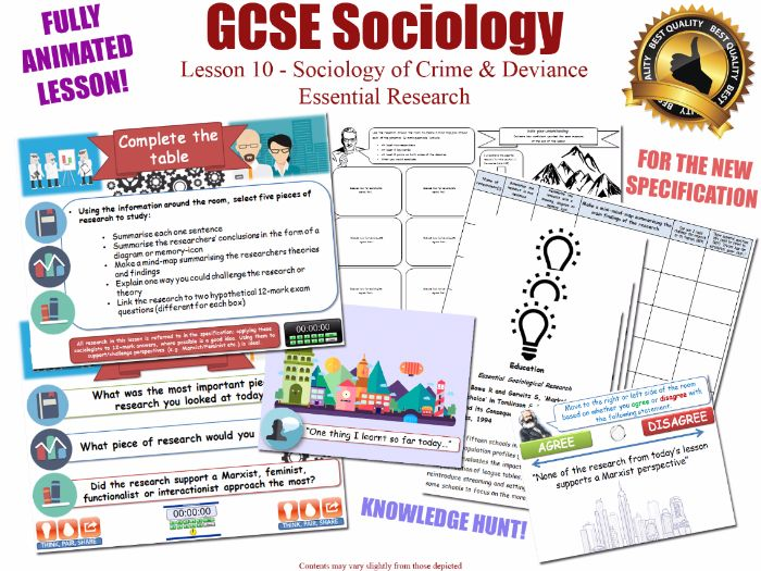 Essential Research - Crime & Deviance - L10/20 [ WJEC EDUQAS GCSE Sociology] Researchers Sociologist