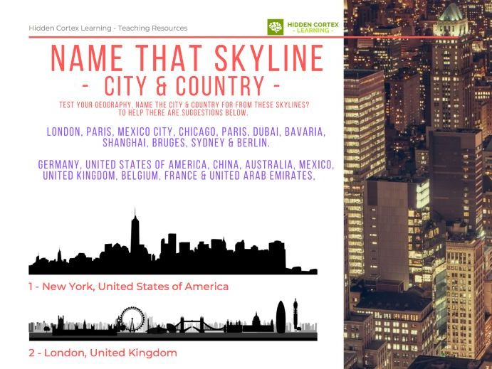 Name that City Skyline-WORKSHEET