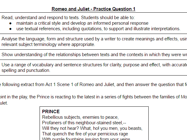 essay romeo and juliet