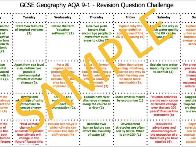 GCSE AQA 9-1 Revision Challenge