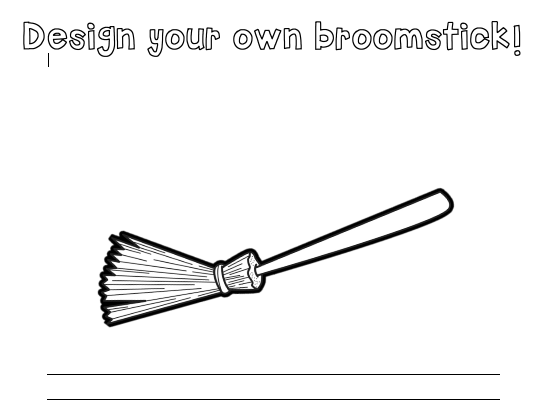 Design your own broomstick with writing lines