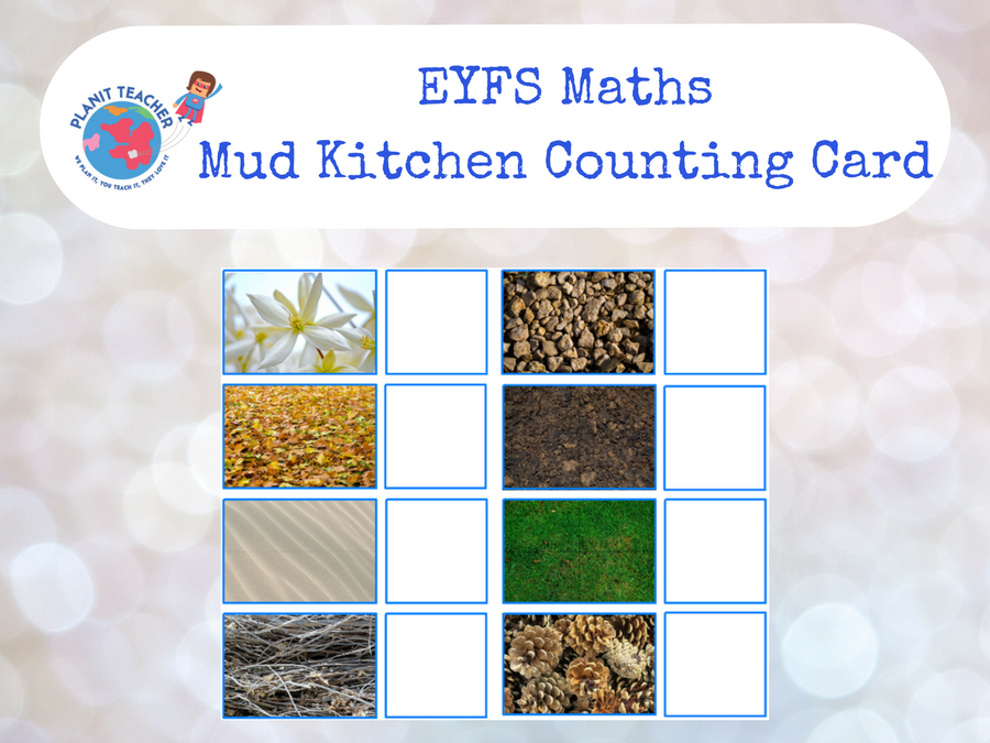 Mud Kitchen Counting Card , EYFS Maths by PlanitTeacher