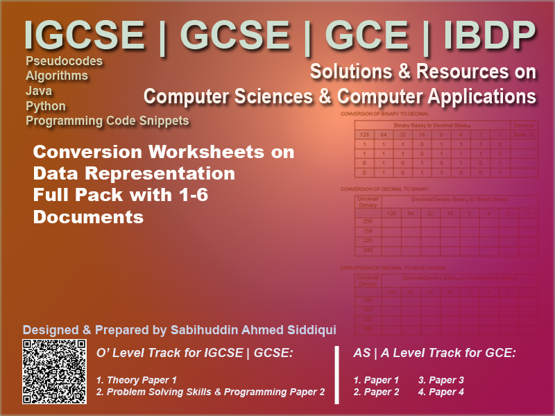 Exam Worksheets. Computer Science for IGCSE, GCSE and UK National Curriculum.