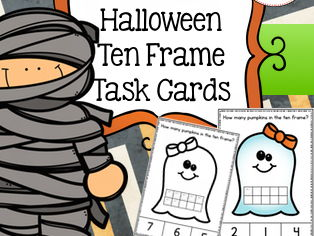 Halloween Activities - Ten Frame Task Cards