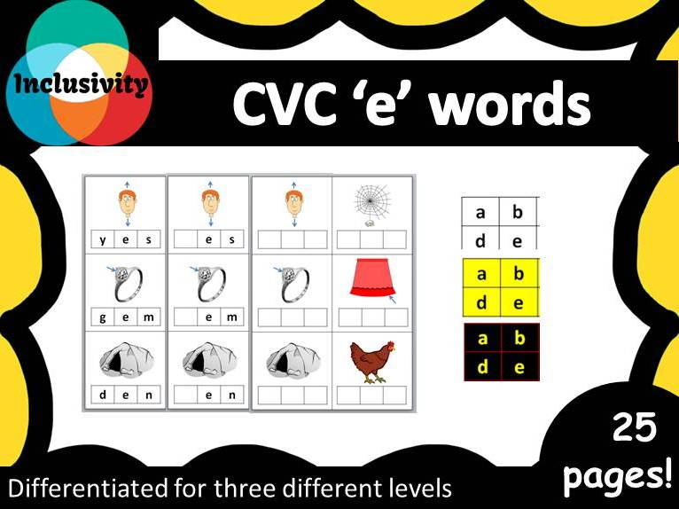 CVC 'e' words spelling, matching letters and picture cards