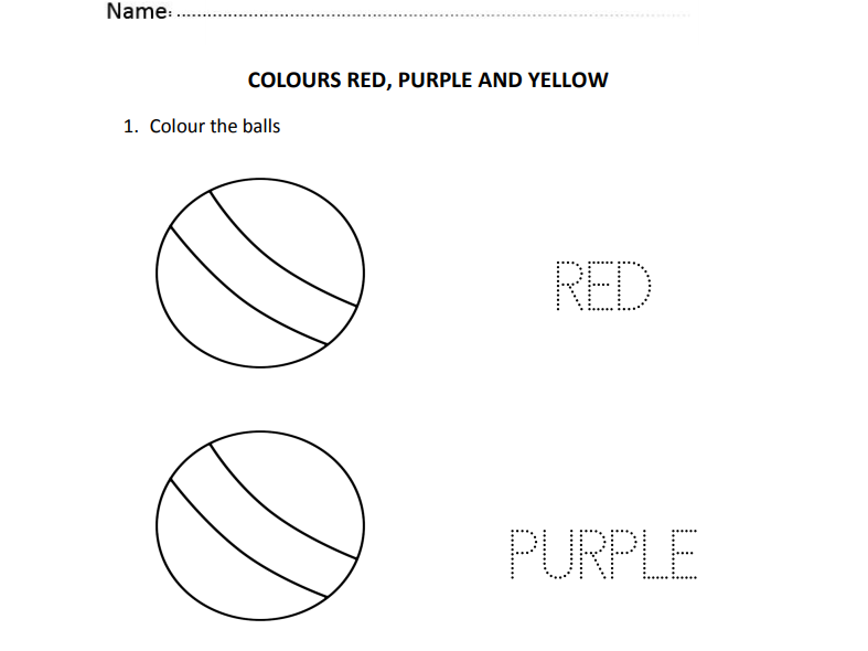Colours Red, Purple and Yellow for Nursery and Reception Students