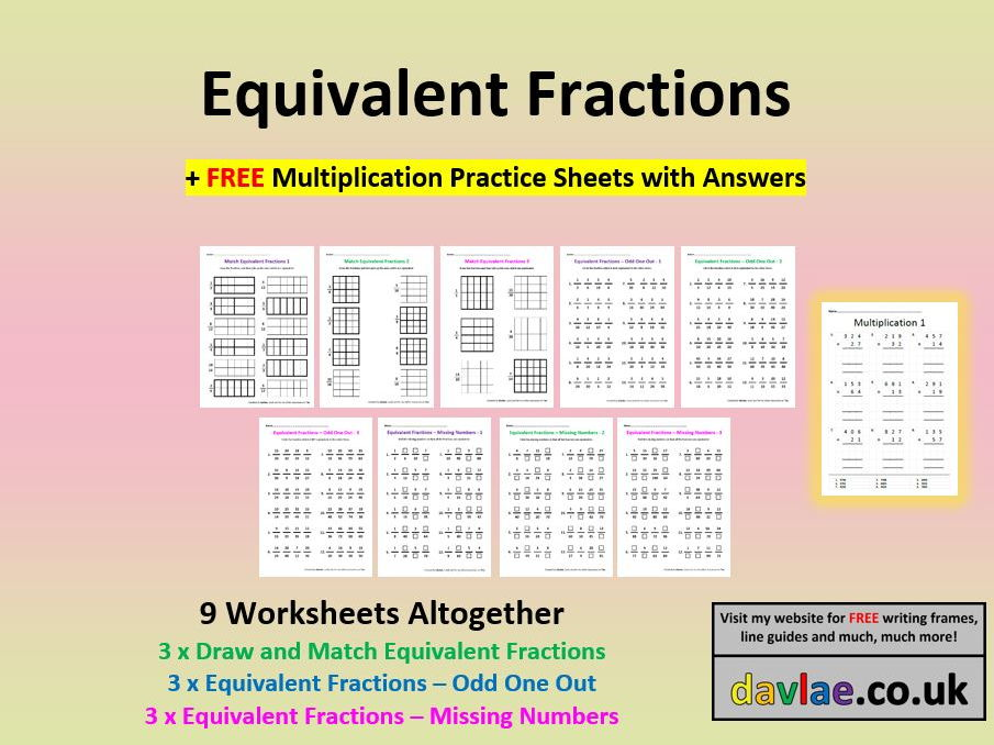 Equivalent Fractions for KS2 (+ FREE MULTIPLICATION PRACTICE SHEETS WITH ANSWERS)