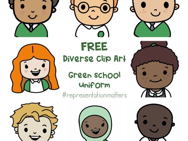 Diverse Pupil Clip Art - Green Uniforms
