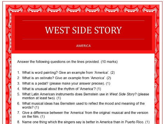 Questions on 'America' from West Side Story