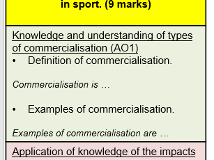 Edexcel GCSE PE long answer structure strips