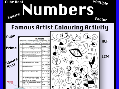 Factors, Multiples, Square, Cube and Prime Numbers Colour by Number Activity