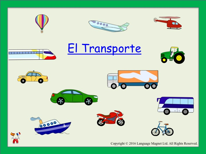 Spanish Transport Presentation, Audio Sheet and Bingo Game
