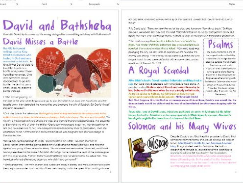 Old Testament Stories: David and Bathsheba: Differentiated Information and Activities