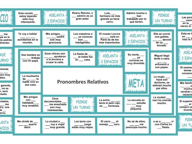 Relative Pronouns Spanish Board Game
