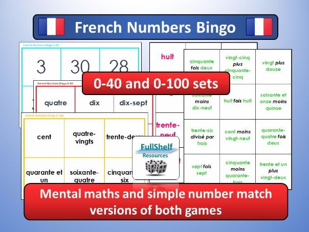 French Numbers Bingo Game