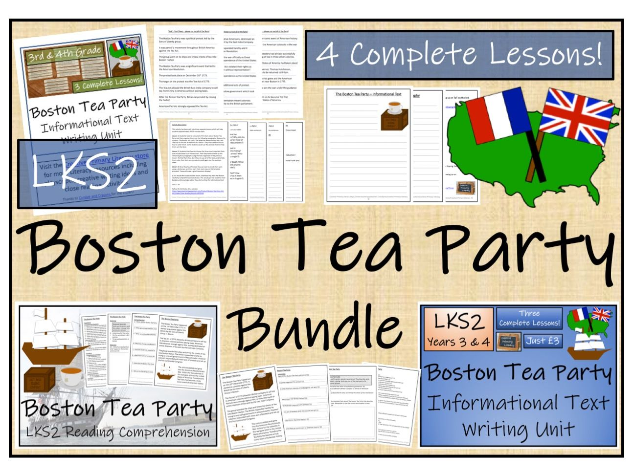 LKS2 History - Boston Tea Party Reading Comprehension & Informational Text Writing Bundle