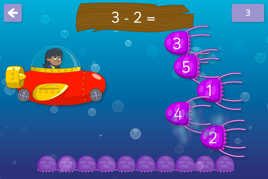 Subtraction to 100 - Dodge the Jellyfish Interactive Game - KS1 Number