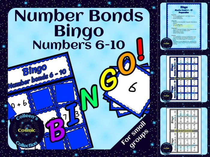 Number Bonds Bingo for numbers 6-10 for Small Groups