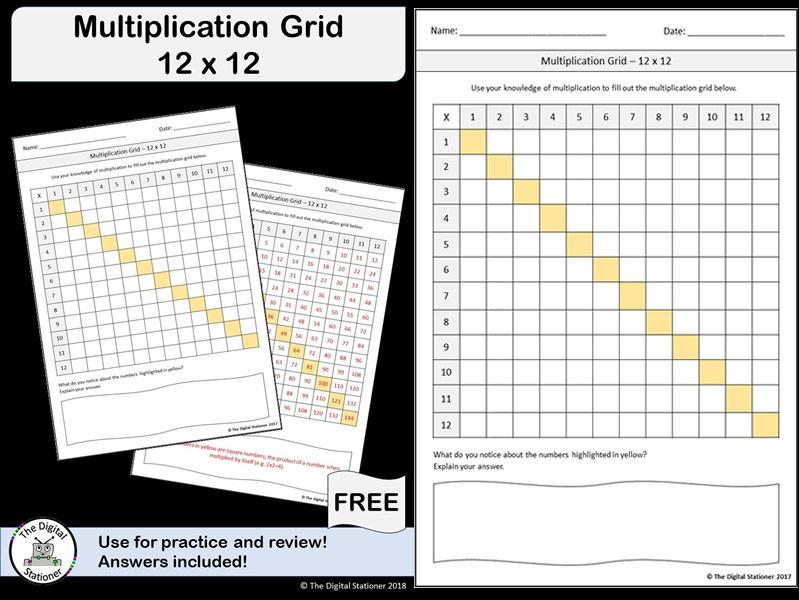 Multiplication Grid 12 x 12 FREEBIE (with answer sheet)