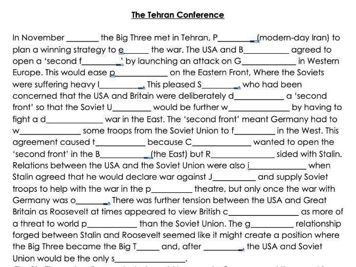The Cold War - 1943 Tehran Conference Word Gap