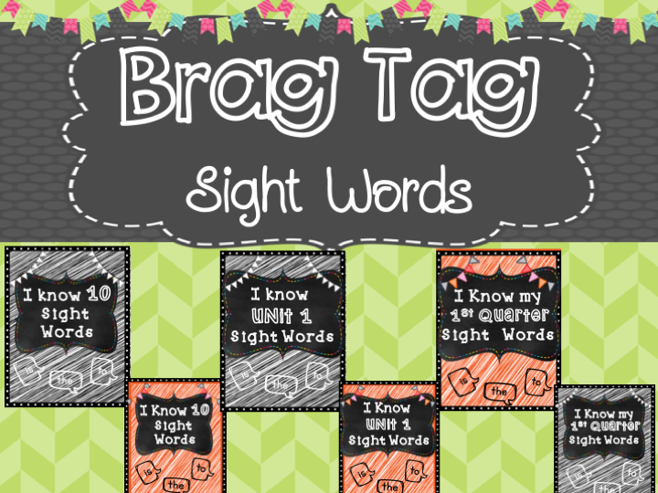 Sight Word by Unit Brag Tags