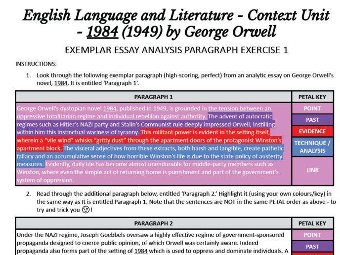 IBDP HSC AP English Language Literature Context 1984 Orwell EXEMPLAR ESSAY ANALYSIS PARAGRAPH FREE