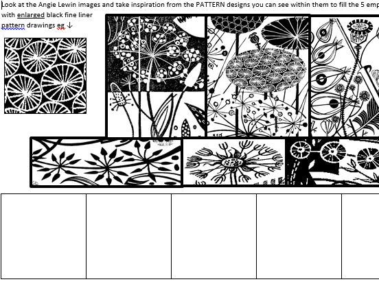 Angie Lewin - Art & Design pattern worksheet