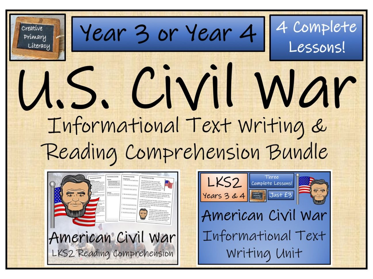 LKS2 History - American Civil War Reading Comprehension & Informational Text Writing Bundle