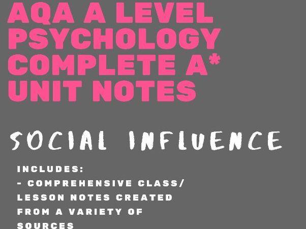 AQA A Level Psychology Social Influence bundle