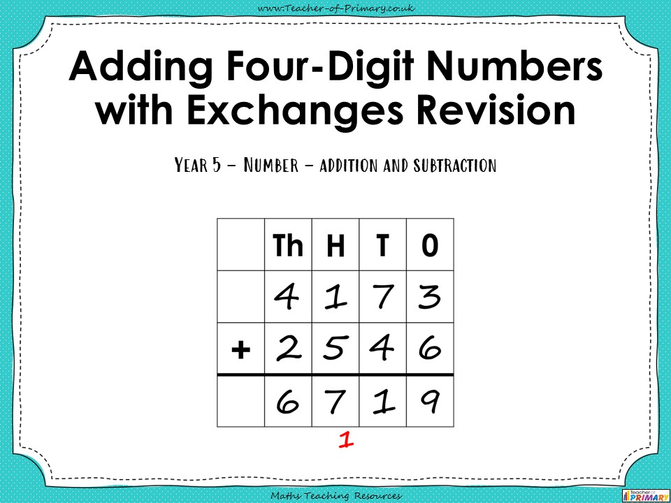 Adding Four-Digit Numbers with Exchanges Revision - Year 5