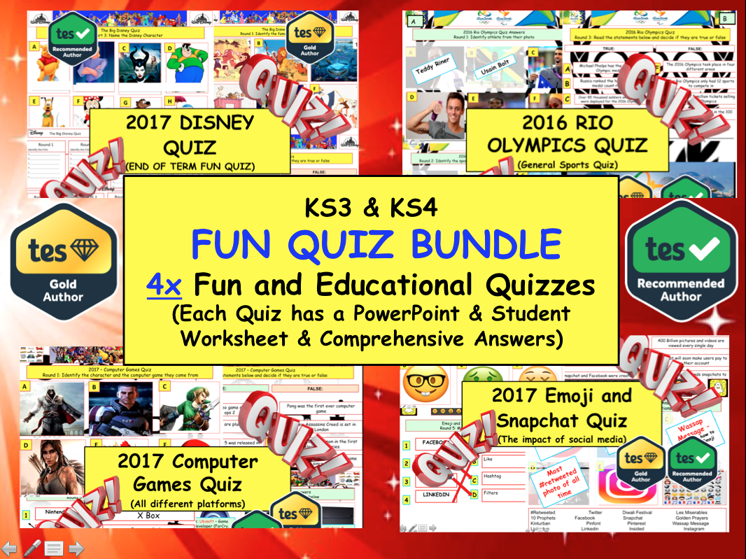 4x Fun end of Summer Term Quiz Bundle (DISNEY/COMPUTER GAMES / SPORTS / EMOJIS / SNAPCHAT)