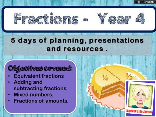 Year 4 Fractions week - complete series of lessons. Fully resourced.