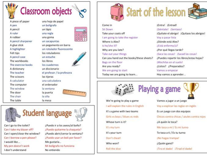 Teacher classroom language SPANISH