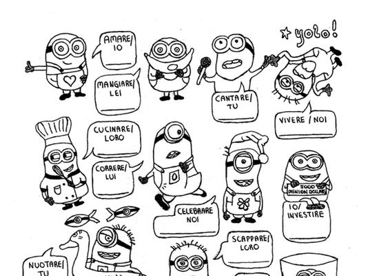 Italian regular ARE, ERE, IRE-verb conjugation worksheet Minions no prep