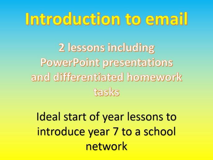 Introduction to email  - 2 lesson unit (KS3 Computing and ICT)