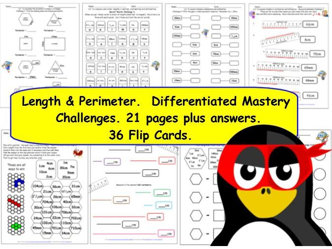 Y3 Measures Length & Perimeter Differentiated Mastery Challenges 24 pages & 36 Flip Cards