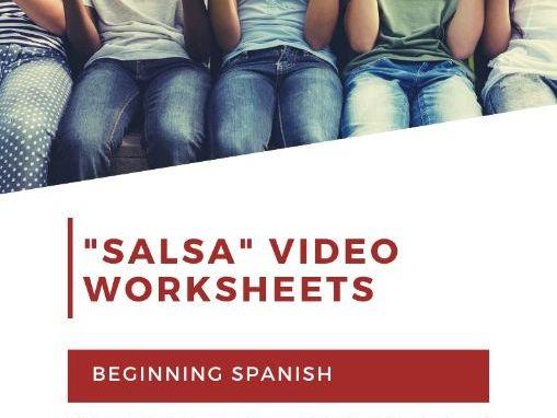 """Salsa"" Video Series Beginning Spanish Worksheets (Videos 1-10) ~ Instant Download ~ Children-Adults"