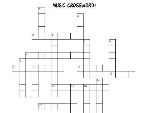Music Crossword (Instrument families, key language)